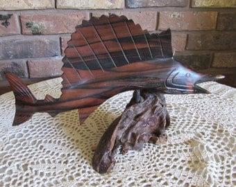 Iron Wood Sailfish/Swordfish Mounted on Driftwood.