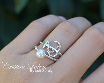 Pearl Ring with Sideways Anchor Ring In sterling Silver - Stacking Ring Set - Twist Rope Bands - Dainty Anchor Ring with Freshwater Pearl