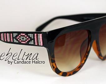 SALE Hand Beaded Sunglasses Celine Ombre Greys