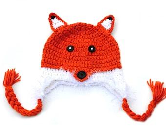Woodland Animal Fox Crochet Hat, Toddler Crochet Hat, Animal Hat, Knit Fox Hat, Knit Wolf Hat, Kids Animal Hat, Orange Fox, Photo Prop