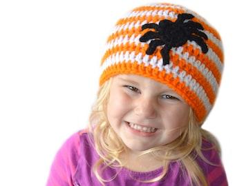 Spider Hat, Crochet Halloween Hat, Kids Fall Hat, Spider Costume, Spider Applique, Spider Beanie, Kids Halloween Hat, Adult Halloween Beanie