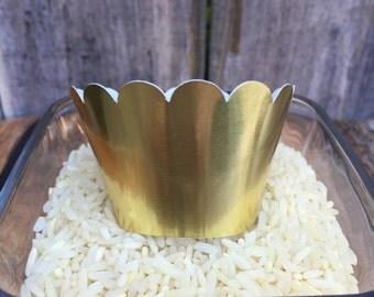 Mini Metallic Gold Cupcake Wrappers (Set of 12)
