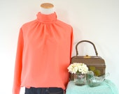 Coral Top with Gathered Neck