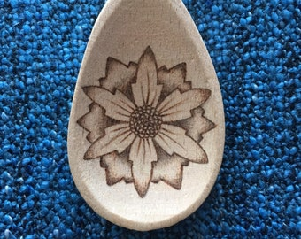 Pyrography woodburning wooden spoon 'flower'