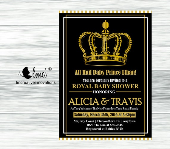 royal baby shower invitation little prince baby shower black and gold