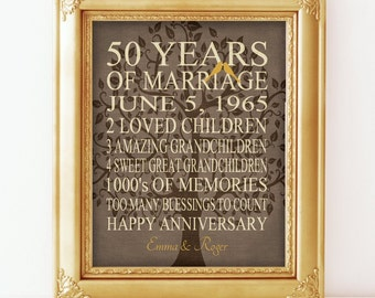 5Oth Anniversary Gift - 50 Years - Personalized Print - Canvas Gift for Parents Gift Grandparents Family Tree Keepsake Wall Art Faux Burlap