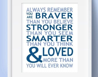 Baby Gift - ALWAYS Remember You Are Braver - Loved PRINT or CANVAS Quote Boy Nursery Art Boys Bedroom Wall Decor Baby Shower Gift Blue