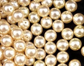 30pcs Czech Glass Pearl Beads Round 8mm Beide (8RPP002)