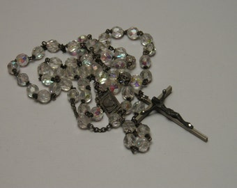 Vintage Italian rosary necklace pendant iridescent transparant faceted glass beads pope Paulus VI