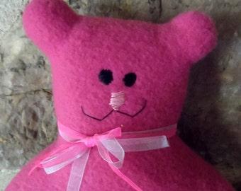 Adorable 100% hand-sewn pink teddy bear.