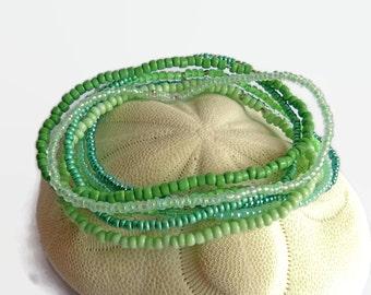 7 seed bead bracelets, emerald, green, mint, stretch bracelet, boho bracelet, bracelet set, boho chic