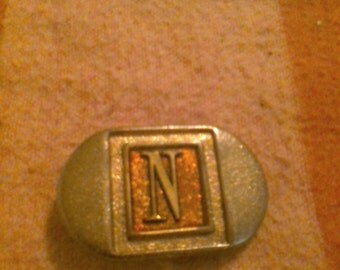 Lee Belt Buckle Vintage Letter N