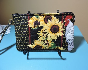 SUNFLOWERS and CHICKENS Wristlet, cell phone bag, quilted cotton, inside pocket, zipper closure, 6x4