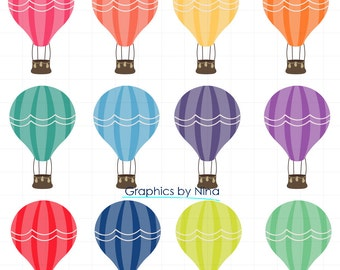 INSTANT DOWLOAD   Hot Air Balloon Clipart  Scrapbook for Personal and Commercial Use