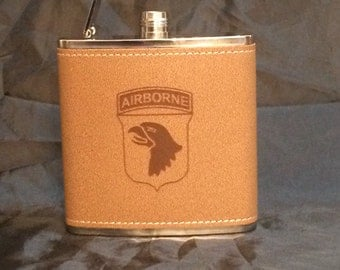 Laser engraved leather wrapped flask...FREE ENGRAVING
