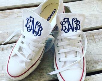 Women's White Converse Chuck Taylor AllStar OX Monogrammed Shoe