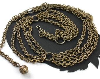 Vintage Brass Multi Chain Belt or Necklace -  up to 37 inches