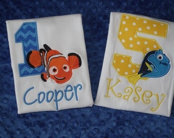 Nemo or Dory Birthday Appliqued Shirt or Onesie