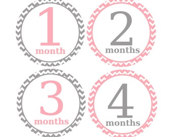 Baby Month Stickers, Monthly Milestone Stickers, Newborn Baby Stickers,  Grey and Pink Chevron