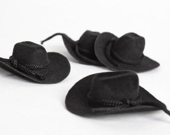 """3"""" Mini Felt Cowboy Hat Rustic Western Wedding Favor Decor - Pkg 12 - 3 Color Choices"""