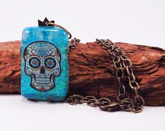 Sugar Skull Pendant, Necklace Resin Blue Glitter, Rectangle Blue Glitter, Dia De Los Muertos, Free shipping to US location.