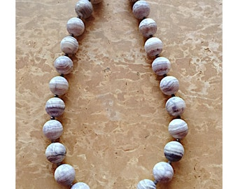 Sterling Silver White & Gray Beaded Necklace