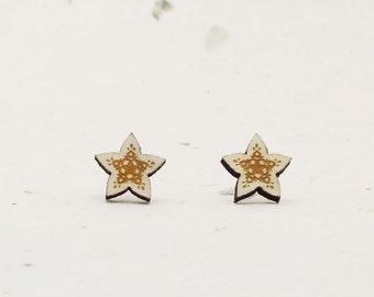 Star Eco-Friendly Birch Stud Earring