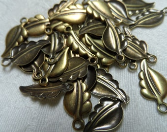 """Vintage gold plate brass stamped leaf charms ,3/4"""",35pcs-CHM237"""
