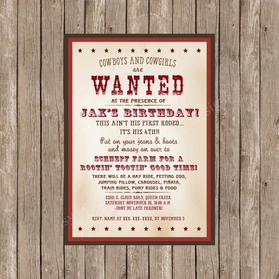 Western Themed Birthday Invitation Printable - Wanted Poster Birthday Invitation - Western Themed Birthday - Wanted Birthday Poster