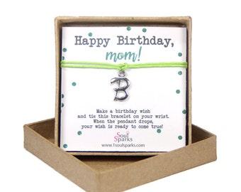 Happy birthday mom, personalised letter wish bracelet- initial jewelry, minimalist apple green cord bracelet, birthday gift for mom