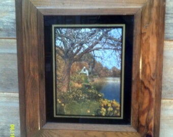 Vintage Framed Cottage Picture, Made in California by Ryan Creations, Foil Art, Framed Cottage, Cottage and Lake, Cottage Picture