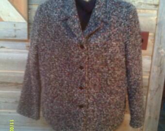 Woman's Vintage Black Textured Jacket, size LG (10 to 14), by Studio Works, Womans Winter Jacket, Textured Blazer 14, Black Jackets 14