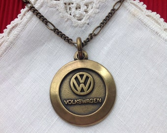 Volkswagen Pendant, VW Emblem, Antique Brass, 24 in, 61 cm