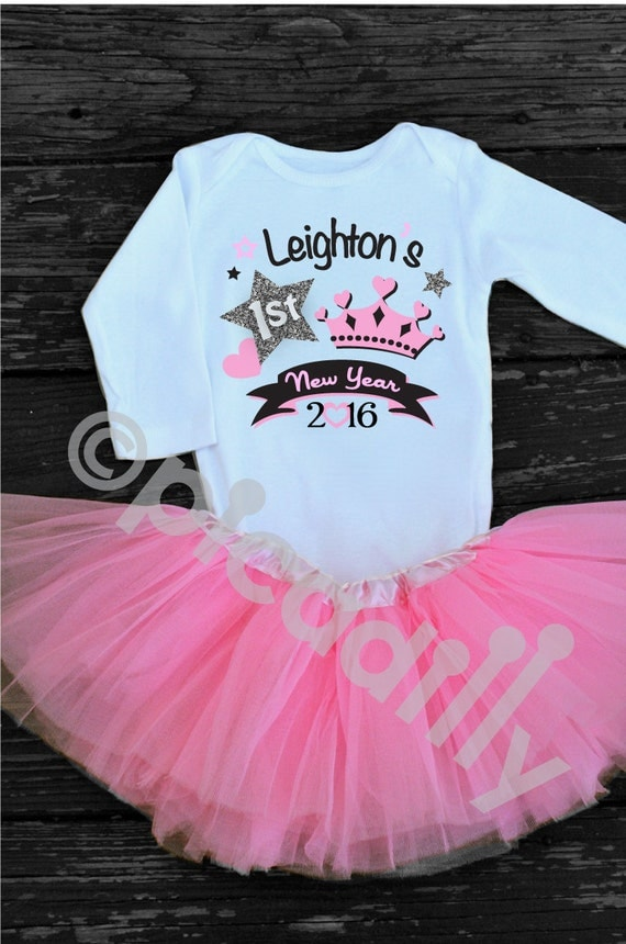 2f662eedb43f Baby Girl My First New Years Outfit Personalized Onesie with Pink or ...