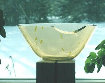 Light Champagne Art Glass Bowl, Fused Glass Bowl, Kiln-worked champagne glass bowl, Art glass, Home decor decorative glass bowl,AB100