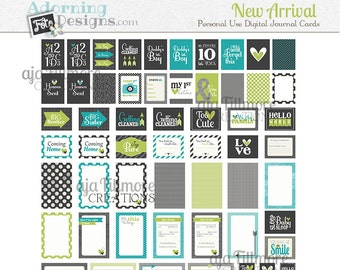 New Arrival Boy Printable Journaling Cards, Project Life baby boy card printables