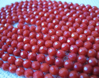 4mm Red Coral Round Bead S94
