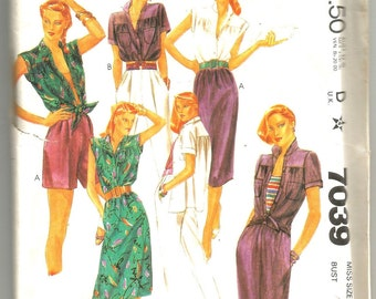 UNCUT 7039 McCalls Sewing Pattern Blouse Skirt Pants Shorts Size 8 Vintage 1980