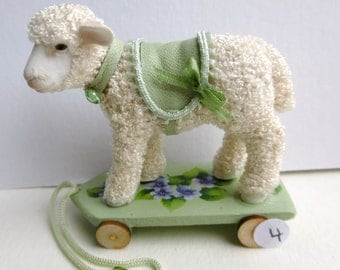 Dollhouse toys, 12th scale, pull along lambs. Dollshouse nursery toys one inch scale. Collectible miniature.
