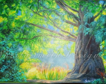 Nature, Forrest, Trail, Tree Painting, Acrylic and Oil on Gallery Wrapped Canvas, ORIGINAL by Sheila A. Smith