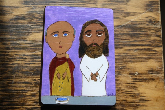"""2.5"""" X 3.5"""" Pontius Pilate Jesus is Condemned to Death Byzantine Folk style icon on wood by DL Sayles"""