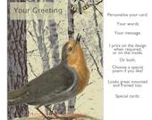 Handmade greetings card, Greeting card, blank card, birthday card, handmade card, anniversary card,artist card, personalised card, 'Robin'
