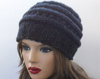 Black Chunky Wool Hat. Slouchy Hat. Hand Knit Hat. Winter Woman Hat.