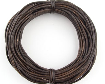Antique Brown Round Leather Cord 2mm, 25 meters (27.34 yards)
