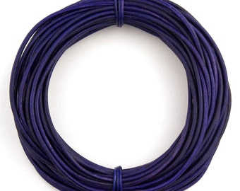 Violet Natural Dye Round Leather Cord 1.5mm 10 meters (11 yards)