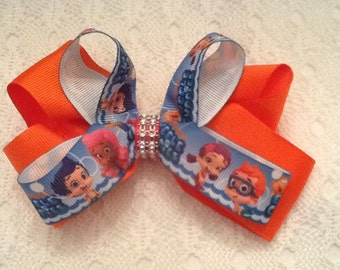 Handmade Orange Bubble Guppies Hair Bow
