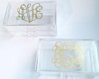 Personalized Acrylic Jewelry Box Monogrammed Acrylic Jewelry Box Bridal gift Jewelry box personalized trinket box