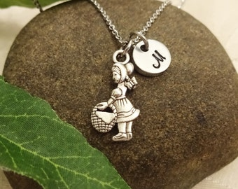 LITTLE RED RIDING hood necklace in silver tone - personalized with initial charm - choice of chains - Fairy tale necklace - child's necklace