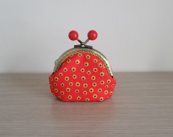 Coin Purse / 8.5cm / Mini Kisslock Pouch / Red Dots