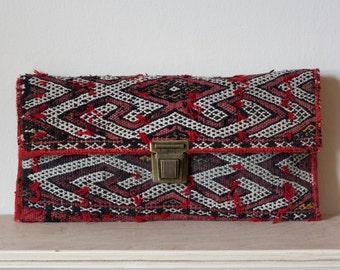 Moroccan berber kilim rug bag, handmade using antique vintage textiles
